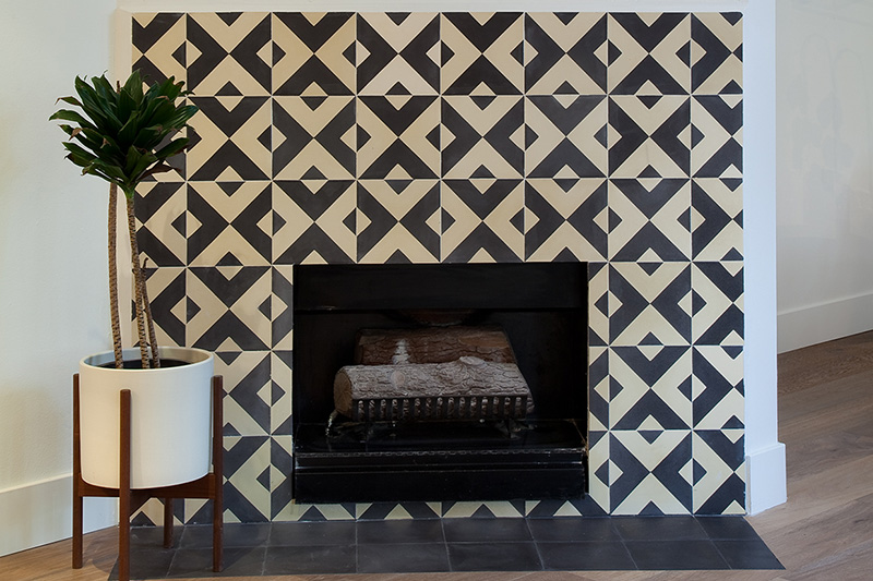 Beautiful fireplace crafted using Hokkaido Cement Tiles