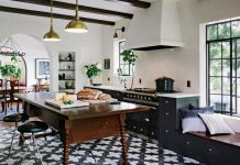 Designer Jessica Helgerson used Badajoz cement tiles for a kitchen