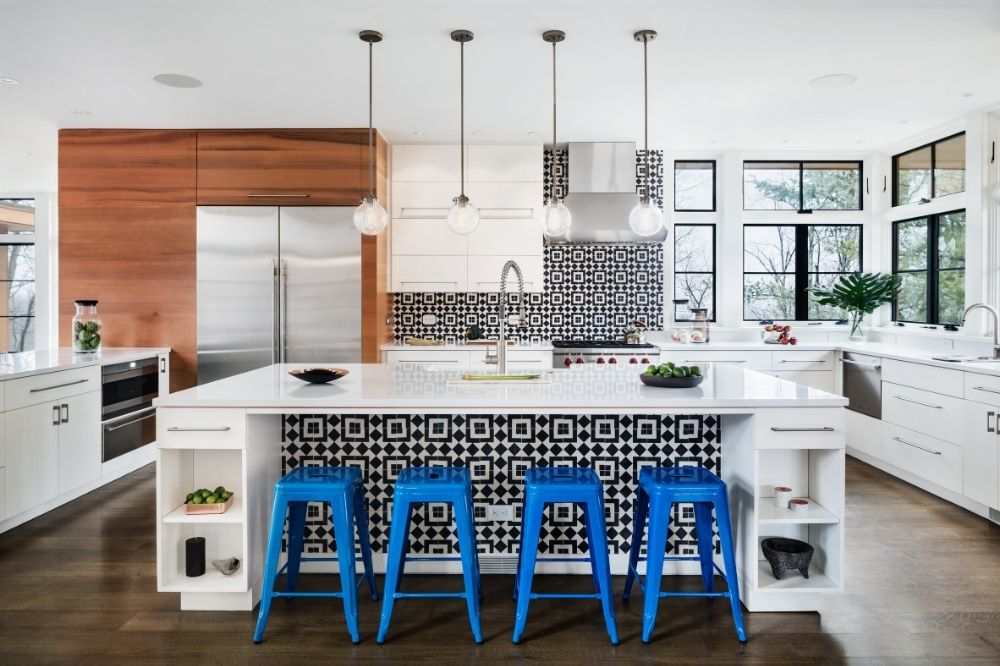 Studio Marchetti used Fez cement tiles for a kitchen