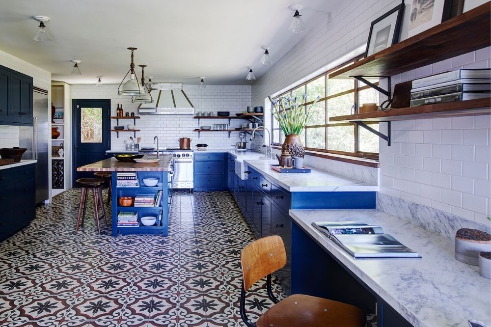 Studio Marchetti used custom Sofia cement tiles for a kitchen
