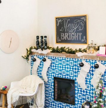 Christmas Fireplace using Granada Tile's Fez Pattern