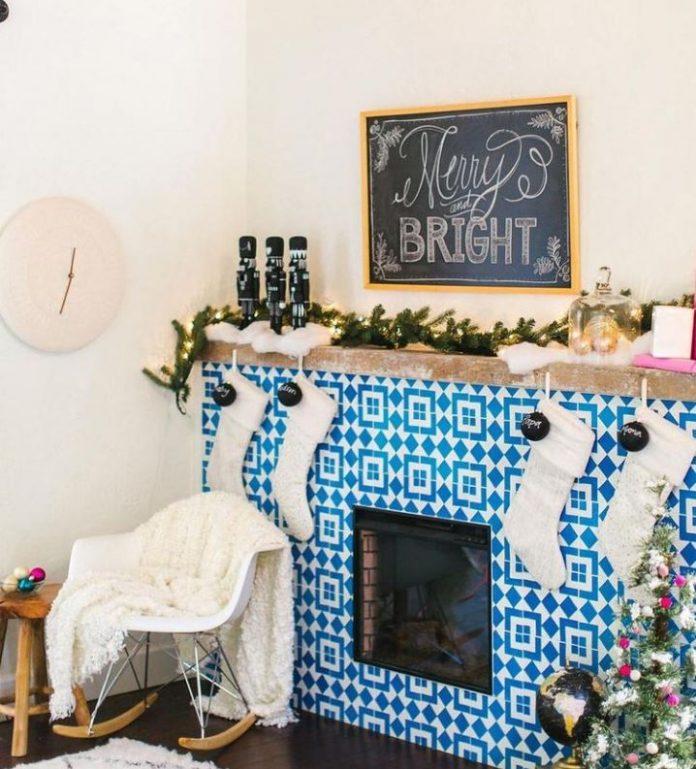 Christmas Fireplace using Granada Tile's Fez Pattern