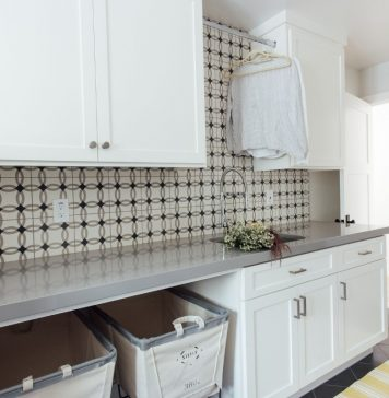 Breathtaking Laundry Room by Michelle Lisac that uses Athens Cement Tiles
