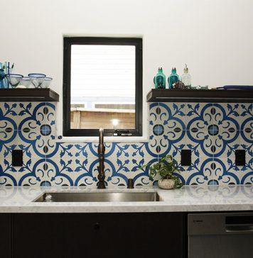 Normandy cement tiles for kitchen backsplash
