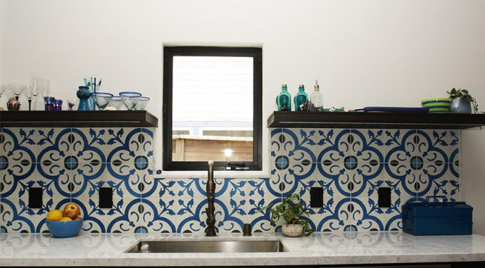 Normandy cement tiles for kitchen backsplash