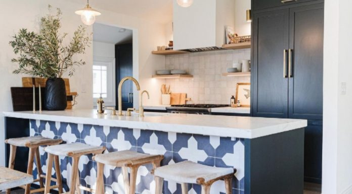 The Workroom using Granada Tile's pattern for a kitchen island