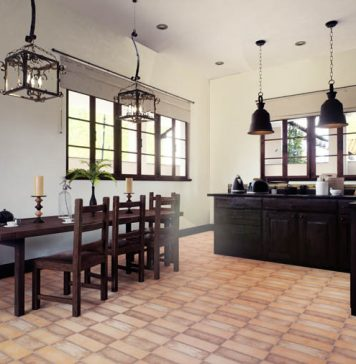 tiles on the floor with wood furniture