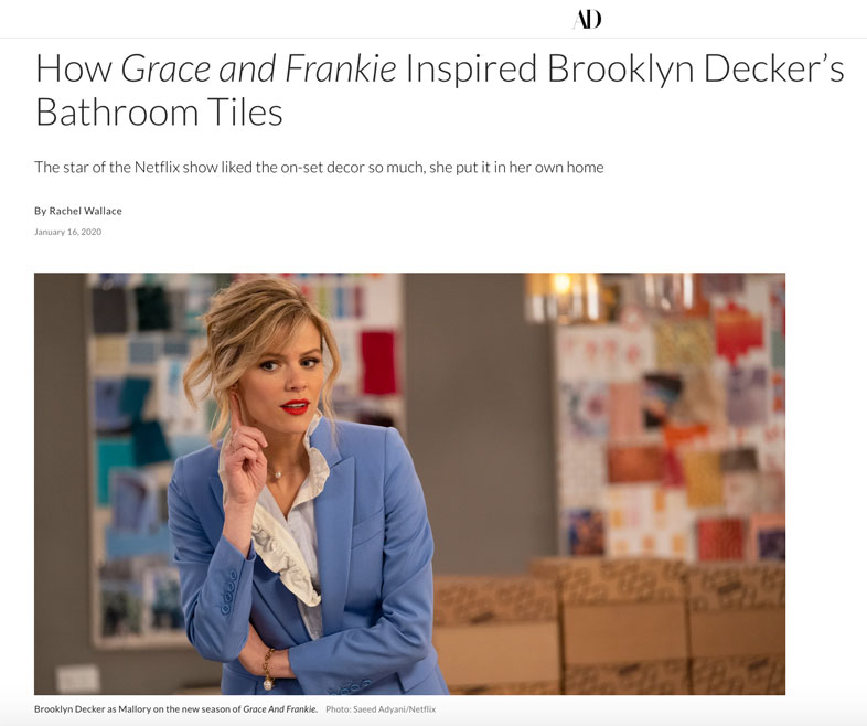 How Grace and Frankie inspired Brooklyn Decker's Bathroom Tiles