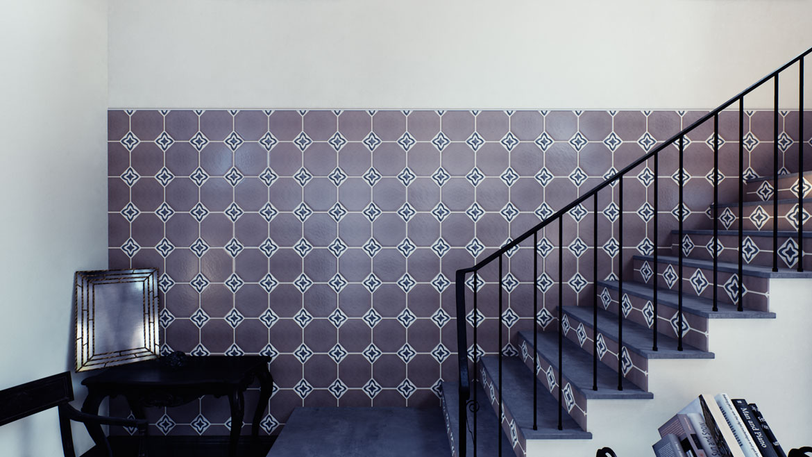 Striking wall of tile mixing solid Olvera Collection with Deco Echo Collection