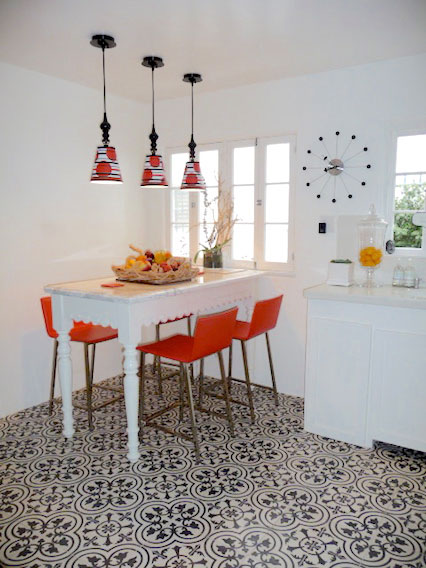 Encaustic Cement Tile Dining Room Floor