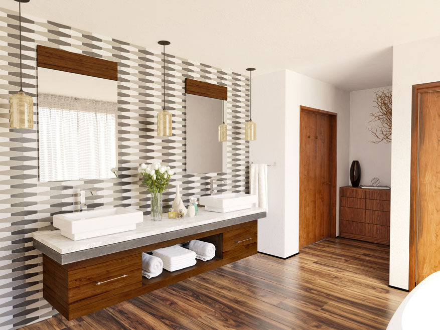 Elegant bathroom with long hex tiles in three colors on main wall