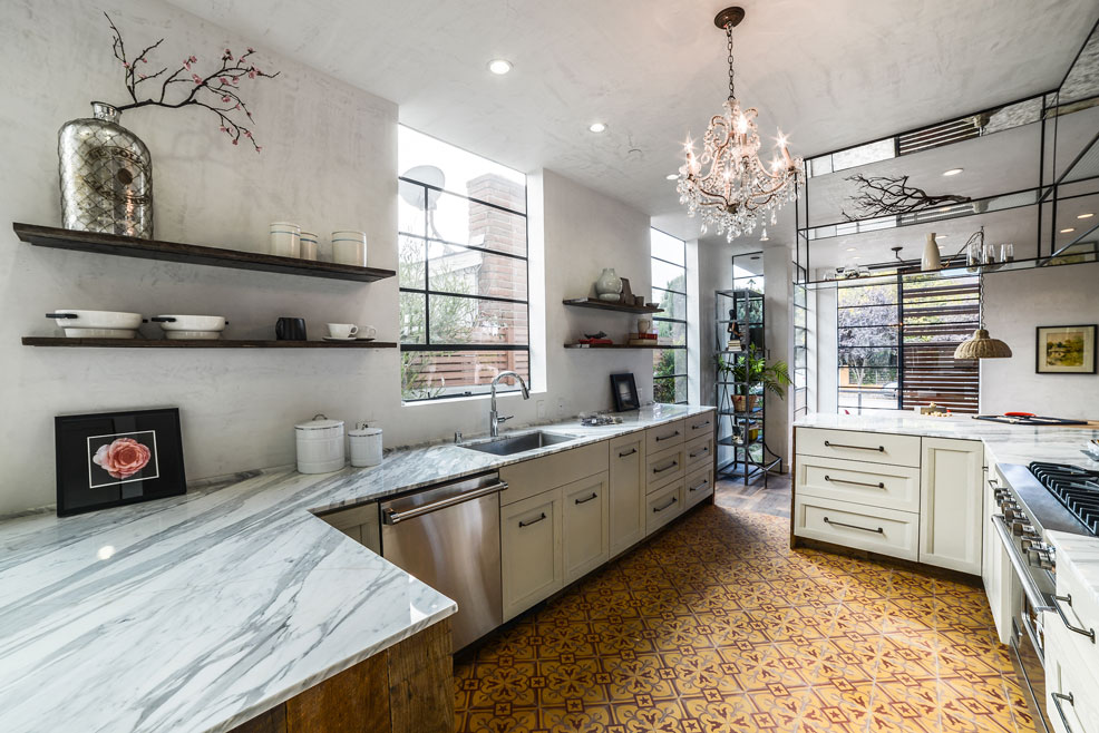 Fancy casual kitchen with cement tiles