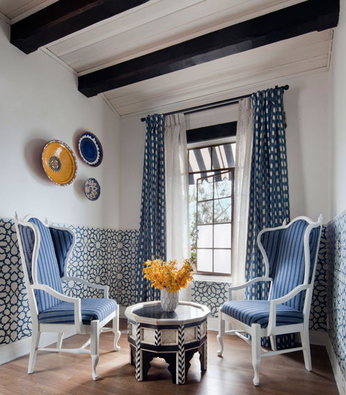 Granada Tile Company's Alhambra blue and white cement tiles at Casa Laguna Hotel & Spa