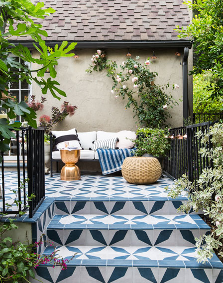 Designer Emily Henderson creates glorious patio with diamond patterned Buniel Cement Tile