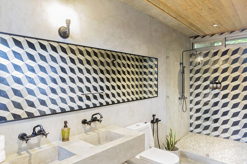 Bathroom with walls of geometrical tile