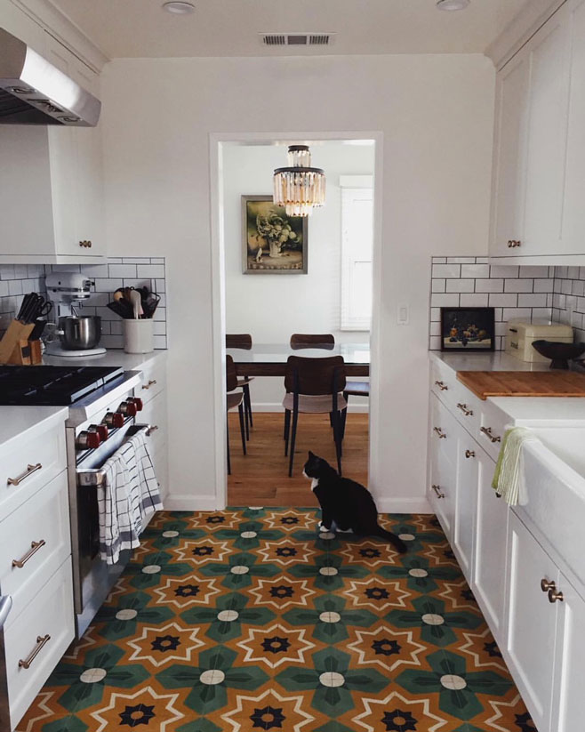 Bright star cement tile in a modern kitchen