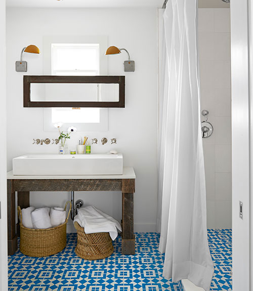 Compact lovely bathroom with blue and white cement tiles by Granada Tile