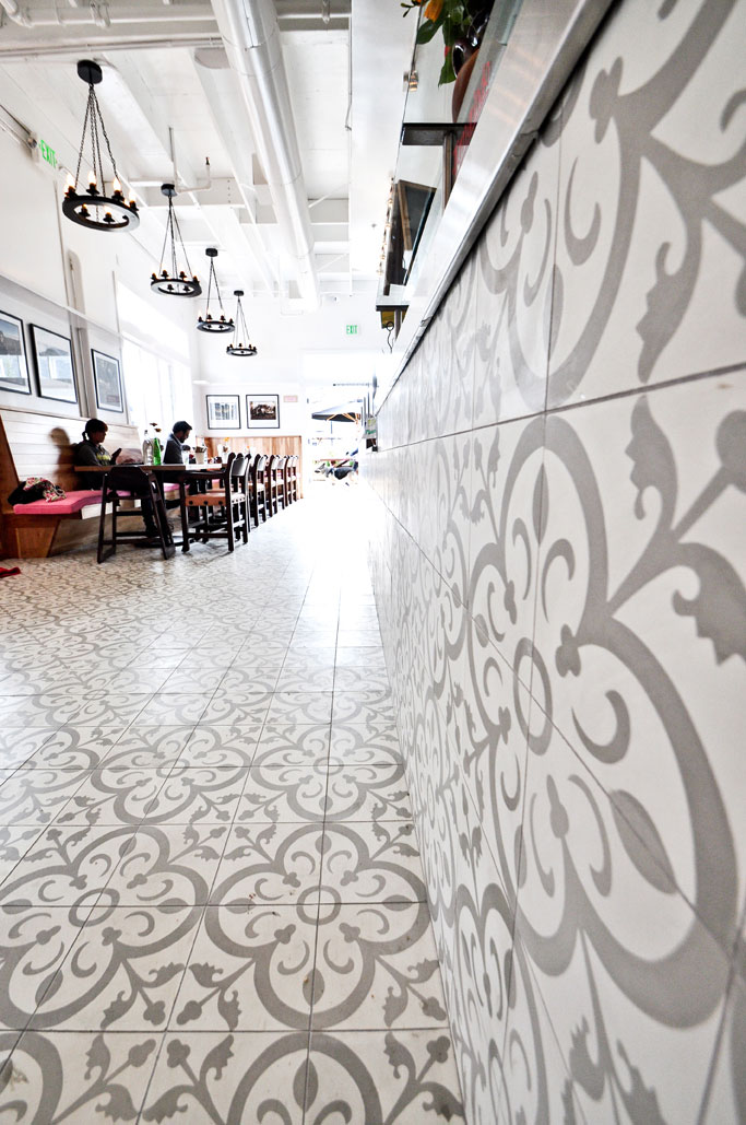 Handmade Cement Tile on Café Wall and Floor