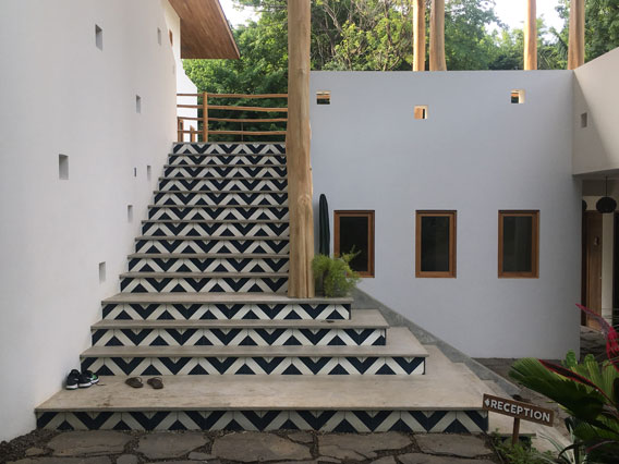 Black and White Diagonal Stair Risers at Resort in Costa Rica