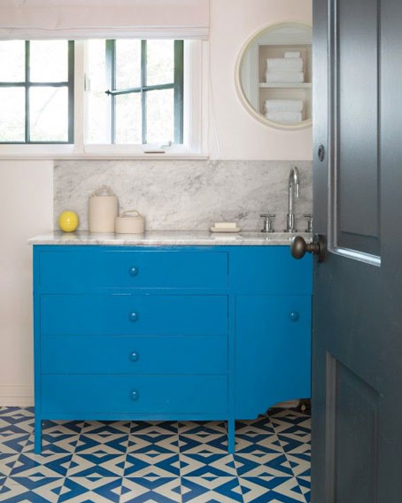 Vibrant Blue Bathroom with Granada Tile geometric Serengeti Tiles