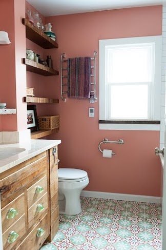 Cheerful guest bathroom with Sofia Cement Tiles