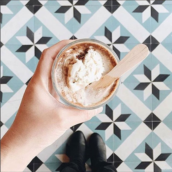 Coffee with ice cream at Dripp Cafe, help over criss cross patterned cement tiles