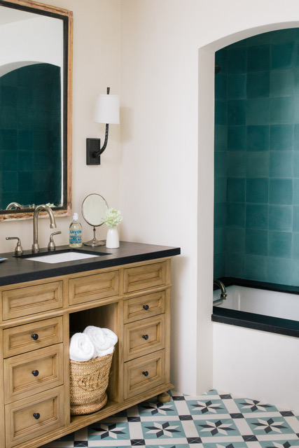 A bathroom with geometric cement tile by Granada Tile