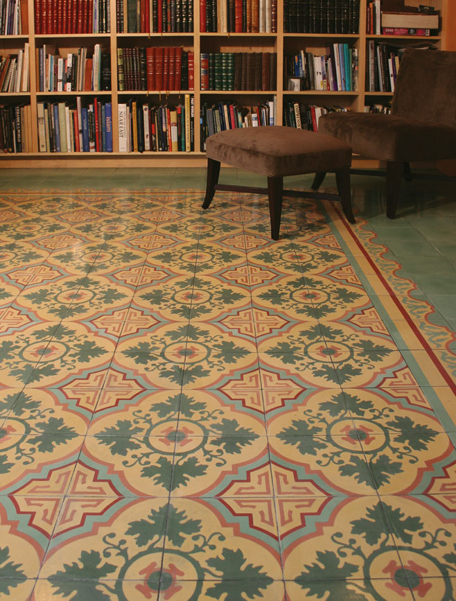 Encaustic Custom Cement Tile in Home Office