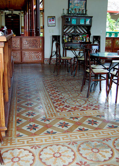 Cement tile pattern combination at the Cafe