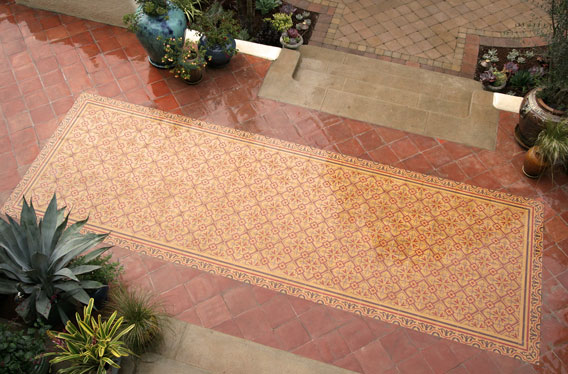 Cement Tile with Chantilly Design in Outdoor Patio at the Pasadena Showcase House