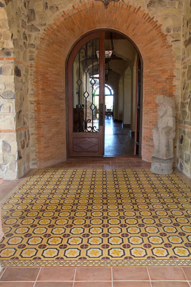 Cement Tile Floors on Floors and Walls at the Rancho Santana Club House