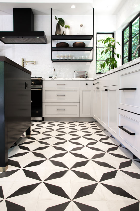 Modern kitchen with black and white elongated diamond tiles by Granada Tile