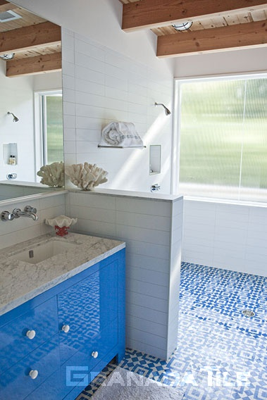 Chic Fez Bathroom Floor with Cement Tile
