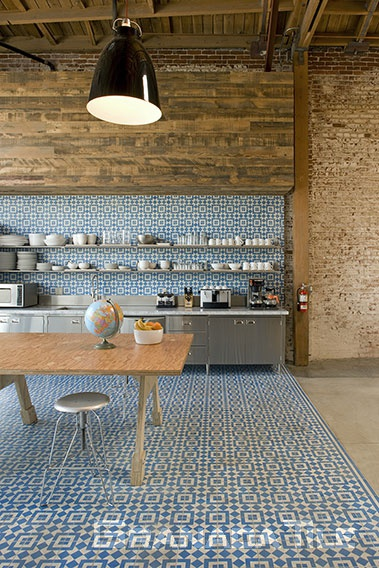 Granada Tile company's Fez design creates a buzz at the modern Biscuit Filmworks headquarters