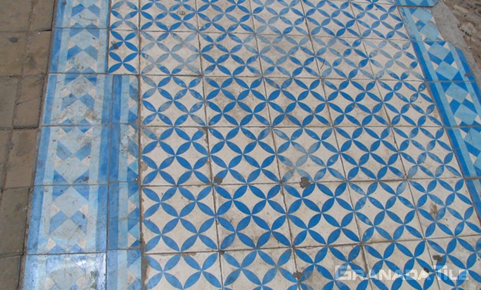 Old blue and white pattern for cement tile pathway