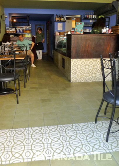 Elegant Cement Tiles in Santa Teresa Cafe in Rio, Brazil