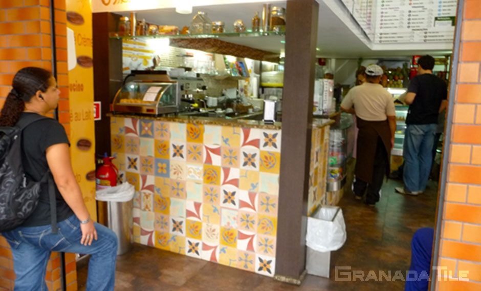 Cafe in Rio with Patchwork Cement Tile Counterfront
