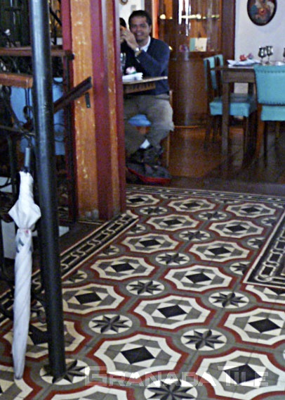 These historic Brazilian cement tiles fit the mood of this elegant Cafe Geraes in Ouro Preto, Minas Gerais, Brazil