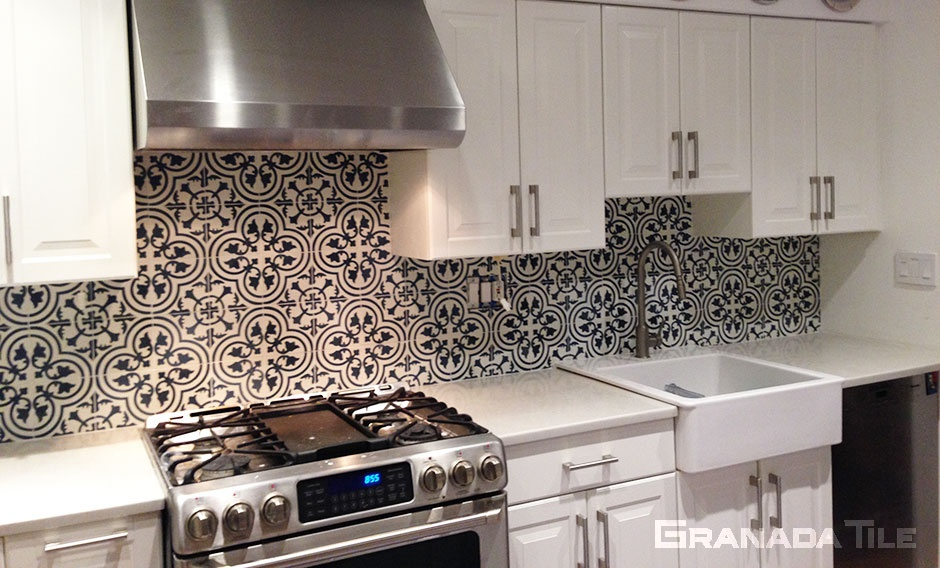 Concrete Tile Backsplash in Cluny 888 C Design in Black and White in Brooklyn Home