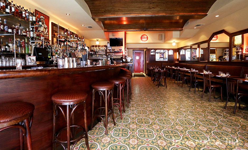 Copenhagen cement tiles in the bistro's Moroccan-tinged fare