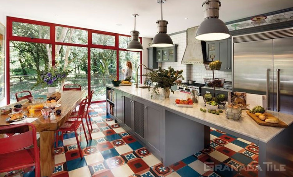 cement tiles for a modern kitchen