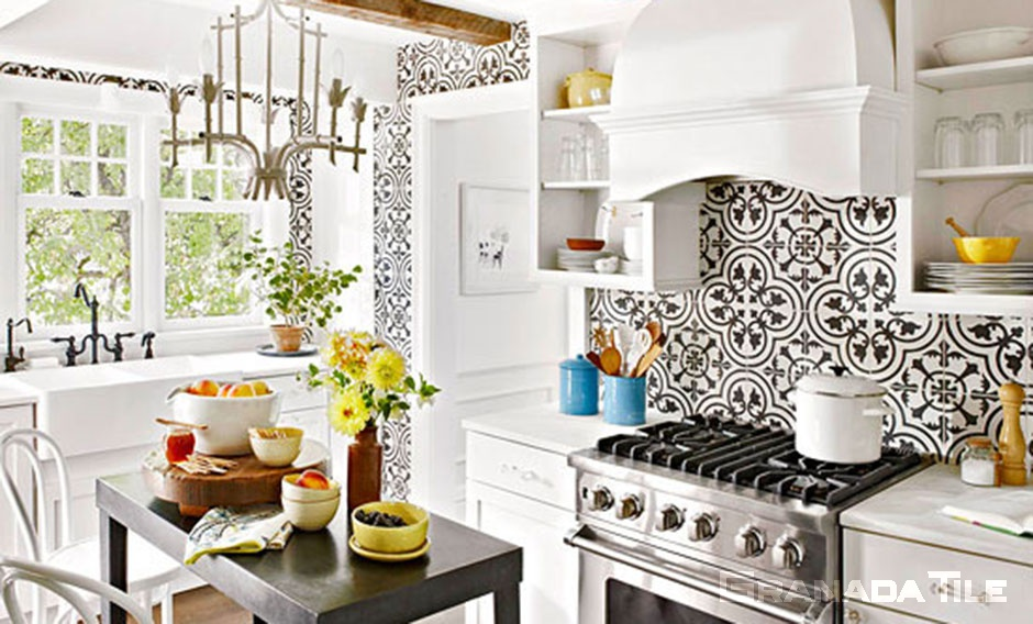 kitchen cluny cement tile backsplash