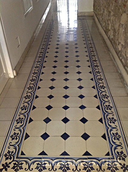 Elegant blue and white concrete cement tile