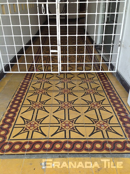 Cement tile carpet installed in corridor