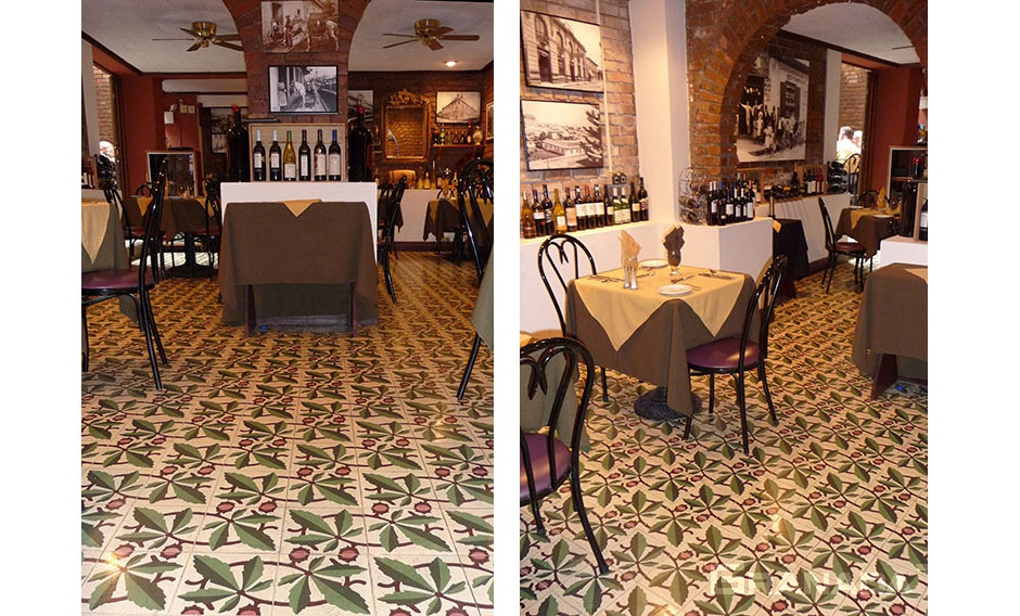 Cement tile installation in restaurant in a San Jose, Costa Rica hotel