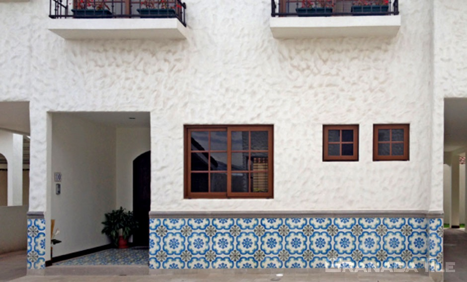 Decorative wall of cement tile