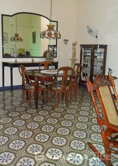 Spacious Cuban Dining Room with Cement Tile Floors