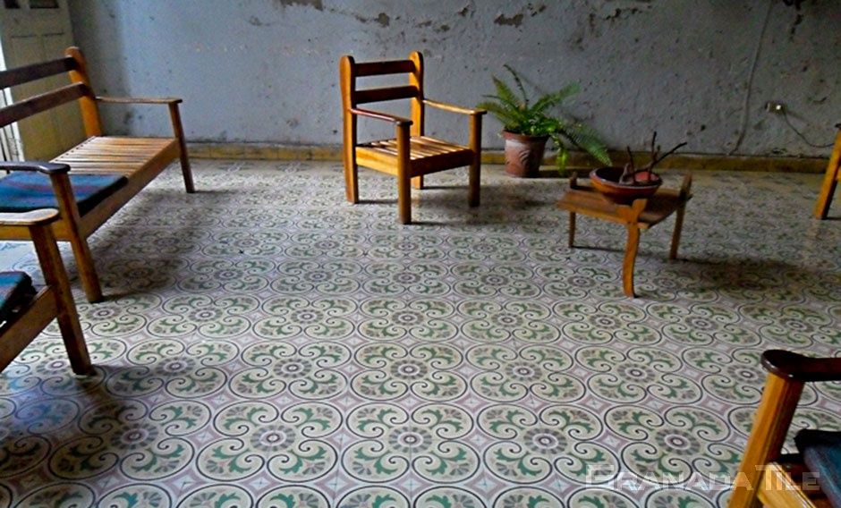 concrete floral tile living room floor