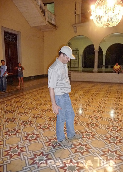 Granada Tile company's president revisits the Cultural Center in Granada, Nicaragua