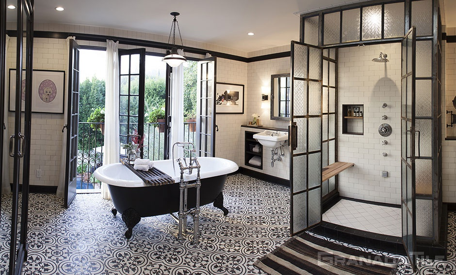 cement tile elegant bathroom floor